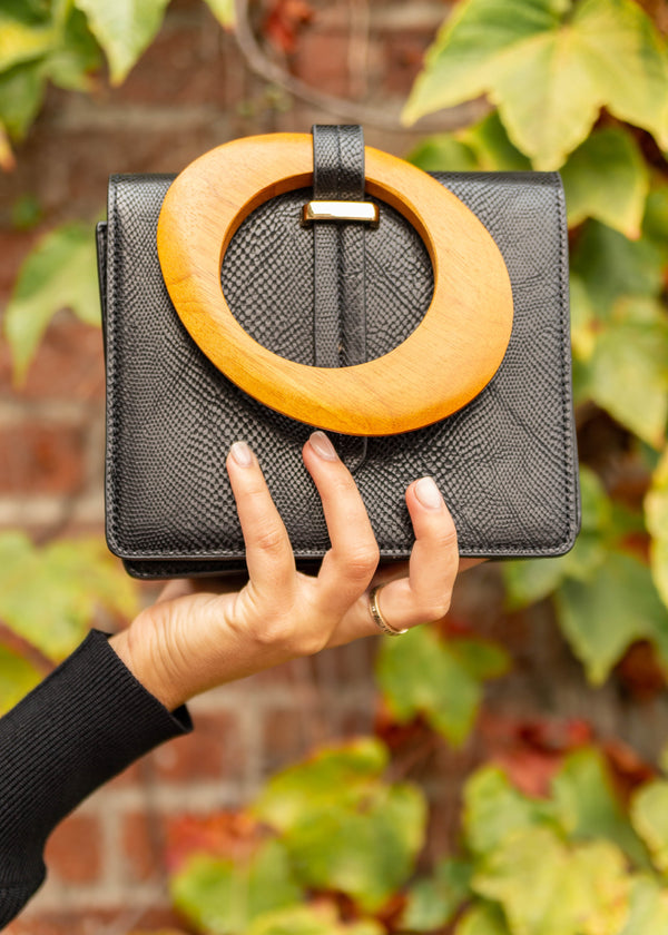 Wood Handle Clutch - Black
