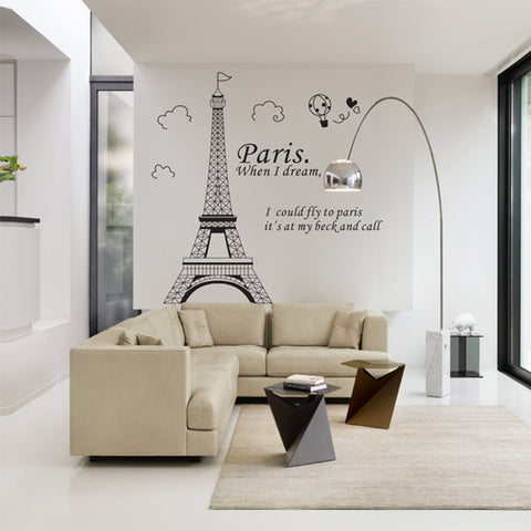 Romantic Paris Eiffel Tower Beautiful View of France Wall Stickers