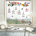 Colorful Flower Birds Birdcage Wall Sticker Decals Wall Art For Home