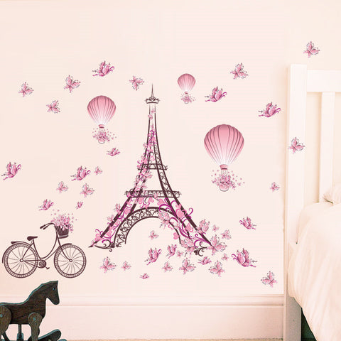 Eiffel Tower Wall Stickers Decals Living Room Decoration Bicycle Flower Hot Air Balloon