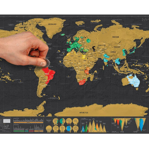 Deluxe Erase Black World Map Scratch off World Map Wall Stickers