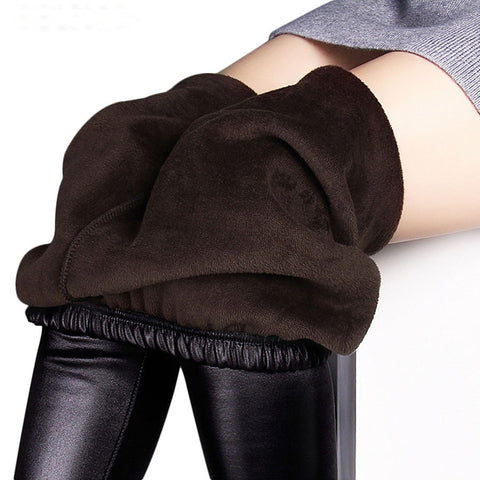 Winter leggings women autumn warm Fake leather Velvet Stretch Skinny