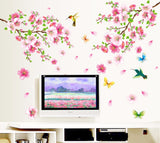 Elegant Flower Wall Stickers Graceful Peach Blossom birds Romantic Living Room Decoration