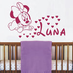 Cute Minnie Mouse With Baby Name Vinyl Wall Sticker For Baby Kids Bedroom