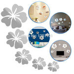 Flower Mirror 3D Home Decoration Silver Mirror Wall Stickers