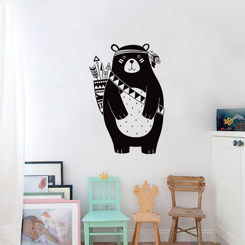 Woodland Animal Bear Wall Sticker For Kids Room Tribal Nursery Home Decoration