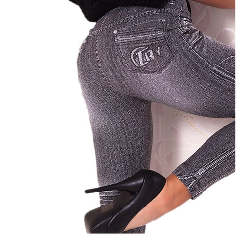 Work Out Leggings Gray Fashion Style Demin Woman Trendy Super Deal Jean