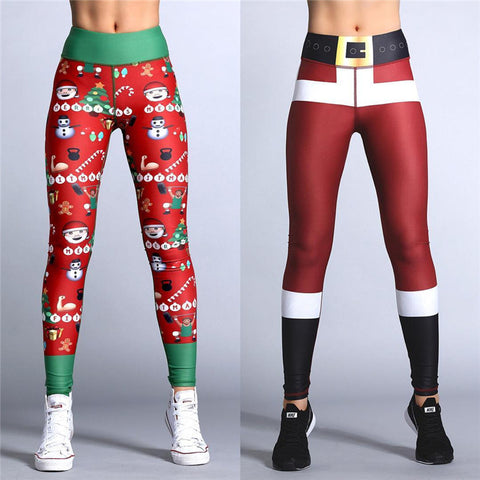 Christmas Leggings Put Hip Elastic High Waist Breathable Merry Christmas