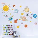 Solar System wall stickers Stars outer space sky planets Earth Sun Saturn Mars poster Mural