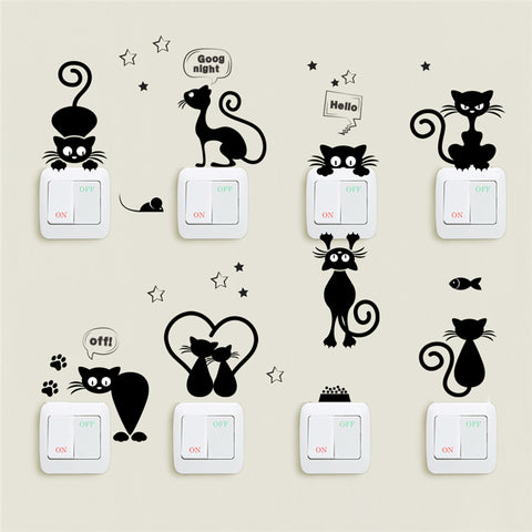 Lovely Cat Light Switch Phone Wall Stickers For Kids Rooms