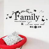 Family Love Never Ends Quote Art Words Wall Sticker Decoration Living Room