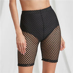 Sweaty Rocks Black High Rise Fishnet Short Legging Knee Length