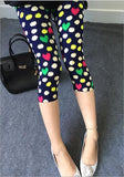 Women casual cropped trousers leggings flower striped black summer short