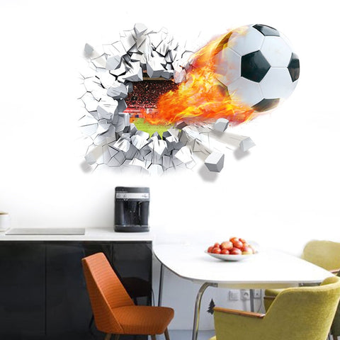 Football Soccer ball through the wall stickers boys room decoration