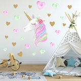 Unicorns Star Wall Stickers Kids Living Room Bedroom Girls Room Decor