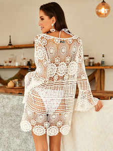 Beach Luxury Crochet Guipure Lace Sheer Cover Up