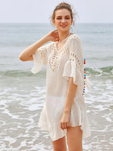 Load image into Gallery viewer, Beach Luxury Crochet Insert Backless Tassel Tie Pom Pom Cover Up