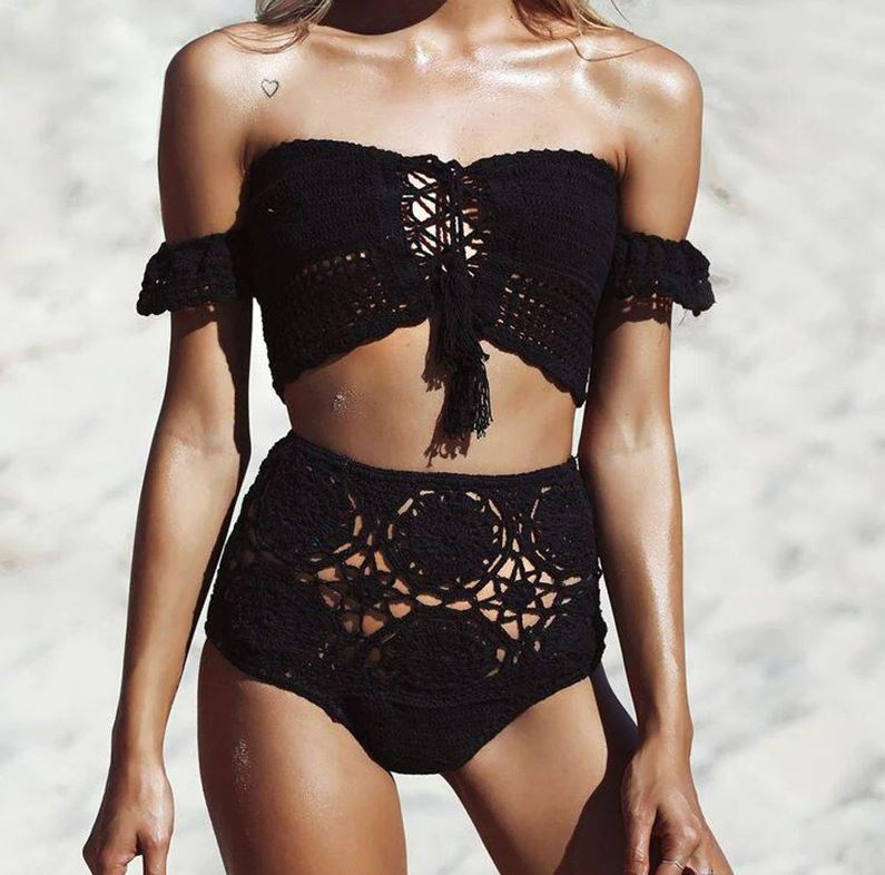 Beach Luxury Sexy Handmade Crochet Brazilian High Waist Bikini