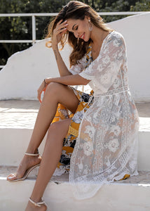 Beach Luxury Embroidery Sheer Cover Up