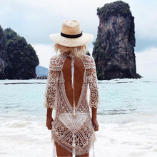 "Load image into Gallery viewer, Beach Luxury Sexy Backless Crochet Bikini Cover Up ""Paradise here I come"""