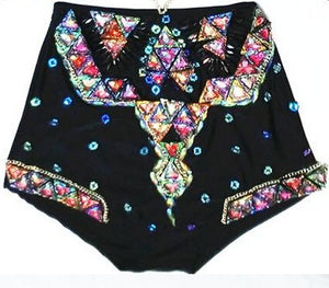 "Beach Luxury Crystal Set ""IBIZA"" Hot Pants and Crop Top"