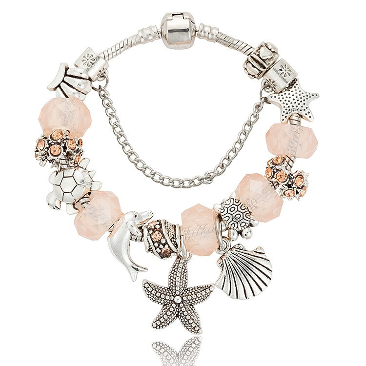Beach Luxury Crystal Beads Bracelet Starfish Dolphin Charm Bracelets