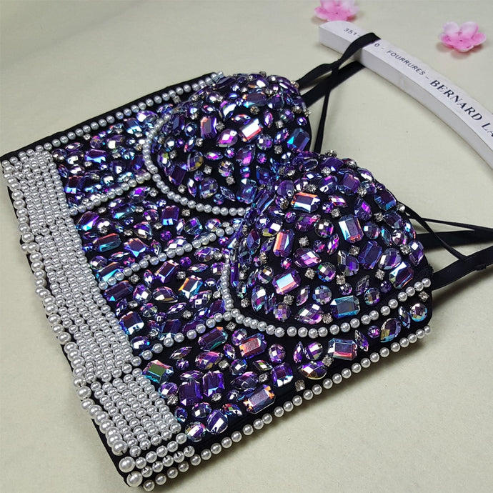 Rhinestone Embroidery Jeweled Beaded Pearl Bustier