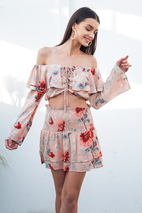 Beach Luxury Off Shoulder Two Piece Set with Flower Print