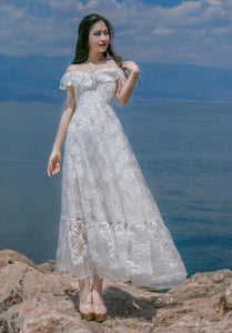 Beach Luxury Bohemian Off Shoulder Ruffle Backless Lace Hollow-Out Flower Embroidery Long Chiffon Dress