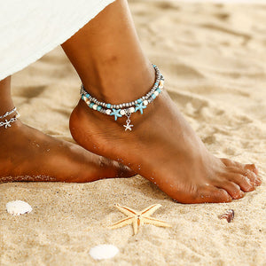 Beach Luxury Bohemian Beach Ankle Chain with Beads Alloy Sea Star