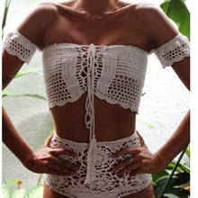 Load image into Gallery viewer, Beach Luxury Sexy Handmade Crochet Brazilian High Waist Bikini