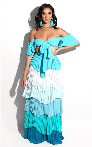 Beach Luxury Sexy Two Pieces Set with Cascading Ruffles Pleated
