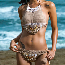 "Load image into Gallery viewer, Beach Luxury ""I am a Mermaid"" Bohemian Push-Up Handmade Knitted Bikini Set"