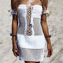 Load image into Gallery viewer, Beach Luxury Knitted Crochet Bikini Cover-Up Off Shoulder Beachwear Dress