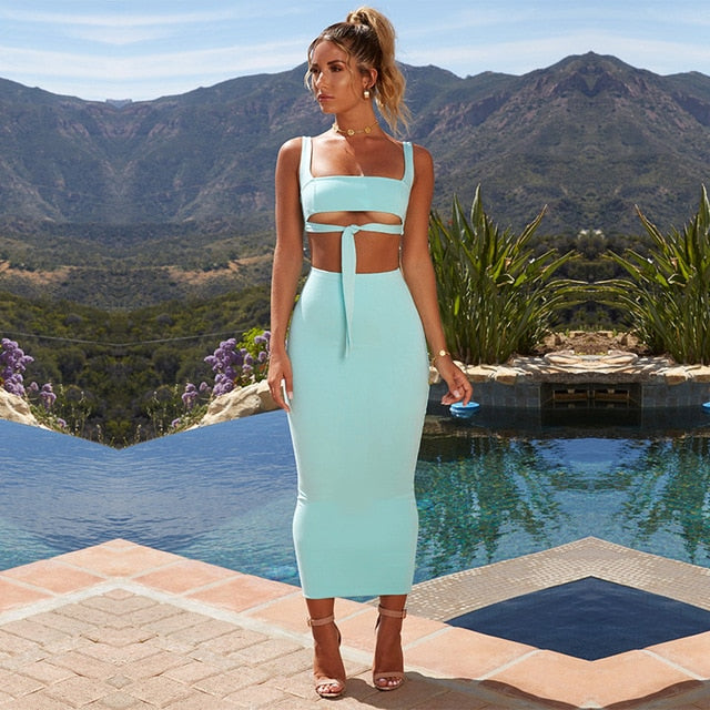 Beach Luxury Sexy Two Piece Outfit Crop Top and Skirt Bodycon Neon