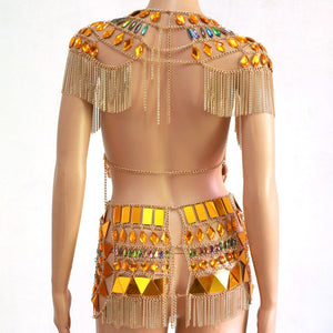 "Beach Luxury Metal Chain Party Outfit ""Cleo"" Festival Dream Outfit"