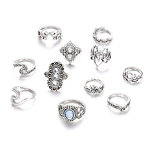 Load image into Gallery viewer, Beach Luxury 11 Pcs/set Bohemian Beach Retro Elephant Hollow Lotus Wave Gems Geometry Crystal Ring Set