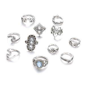 Beach Luxury 11 Pcs/set Bohemian Beach Retro Elephant Hollow Lotus Wave Gems Geometry Crystal Ring Set