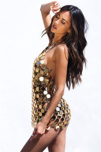 Beach Luxury Sexy Metal Chain Sequin Festival Party Dress