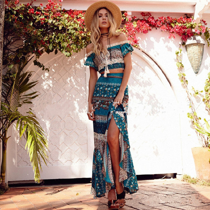 Beach Luxury Bohemian Two Piece Crop Top and Maxi Skirt