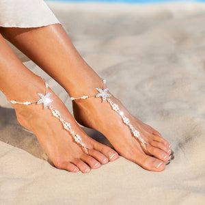 Beach Luxury Fashion Anklets Starfish Pearls Elastic Foot Chain Jewelry Ornament