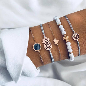 Beach Luxury 5 Pcs Set Fashion Beach Heart Turtle Pineapple Beads Bracelet Set Bohemian Vintage Jewelry