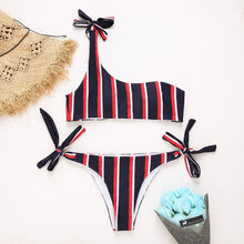 "Load image into Gallery viewer, Beach Luxury One Shoulder Bikini Set ""Give me some Vitamin Sea"""