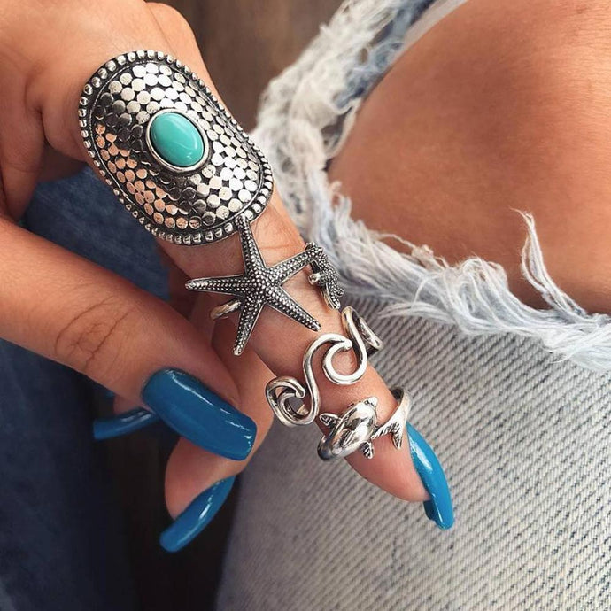 Beach Luxury 4Pcs Set Boho Stack Starfish Dolphin Faux Turquoise Midi Finger Knuckle Rings