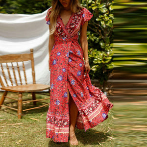 Beach Luxury Floral Print V-Neck Ethnic Beach Bohemian Maxi Dress