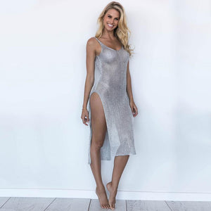 Beach Luxury Sexy Bikini Beach Cover-Up Summer Dress Tunic Metallic Effect