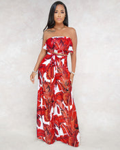 Load image into Gallery viewer, Beach Luxury Casual Off Shoulder  2 Piece Set Pant and Crop Top