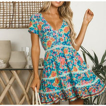 Load image into Gallery viewer, Beach Luxury Floral Print V Neck Button Ruffle Dress