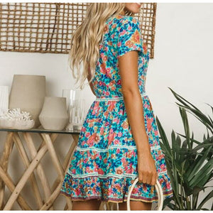 Beach Luxury Floral Print V Neck Button Ruffle Dress