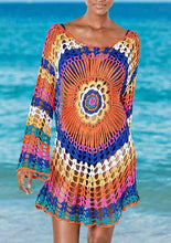 Load image into Gallery viewer, Beach Luxury Colorful Crochet Beach Cover Up Knitted Tunic Dress 72CM